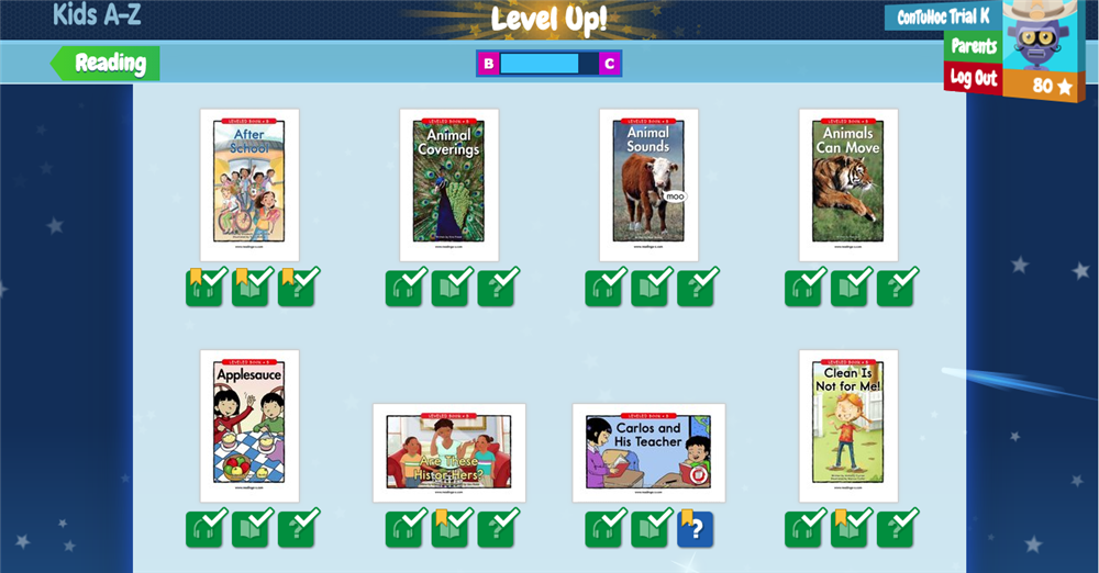 Raz-kids Level up